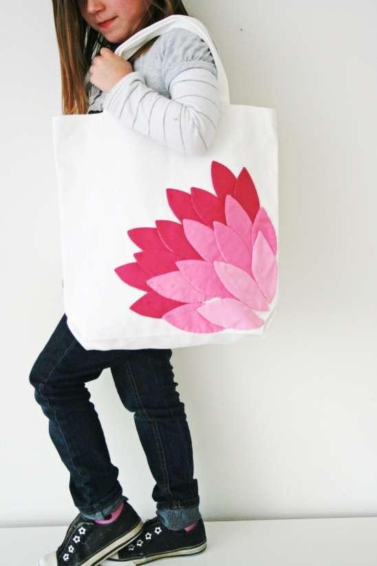 Lotus-Embellished Book Bags