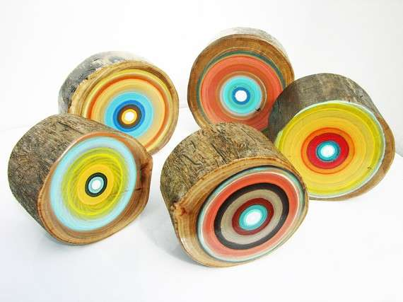 Repurposed Colored Tree Stumps