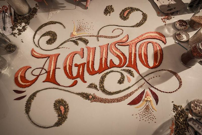 Intricate Food Lettering