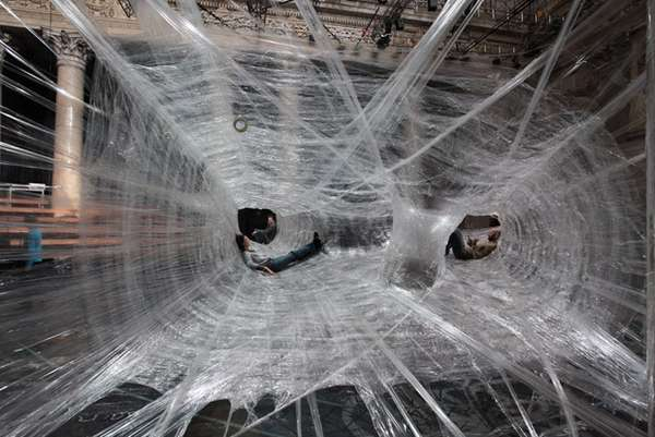 Packing Tape Spiderwebs