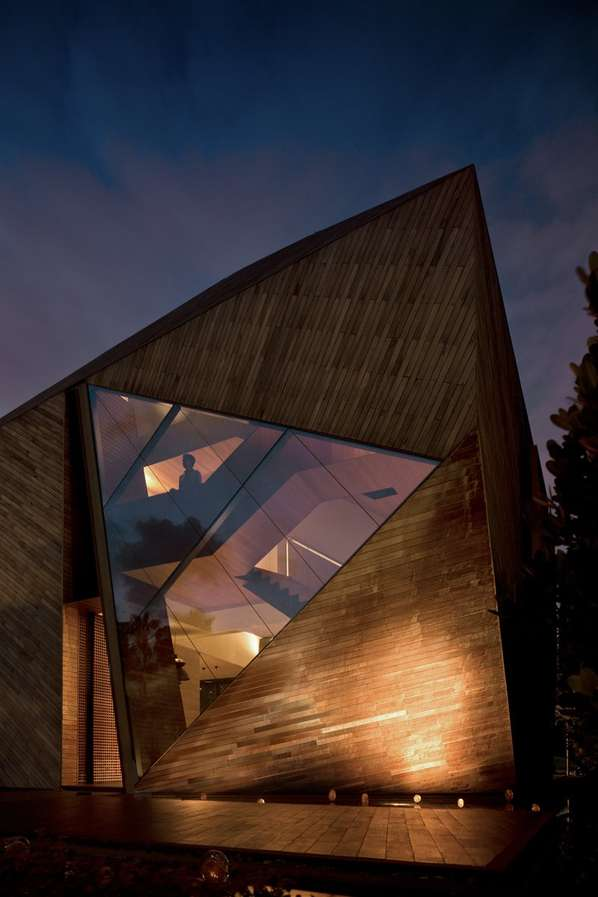 Diamond-Shaped Wooden Homes