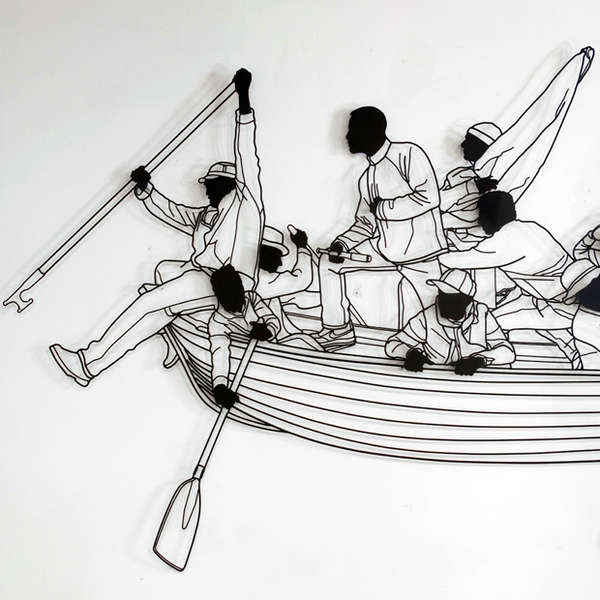 Rowing Silhouette Sculptures