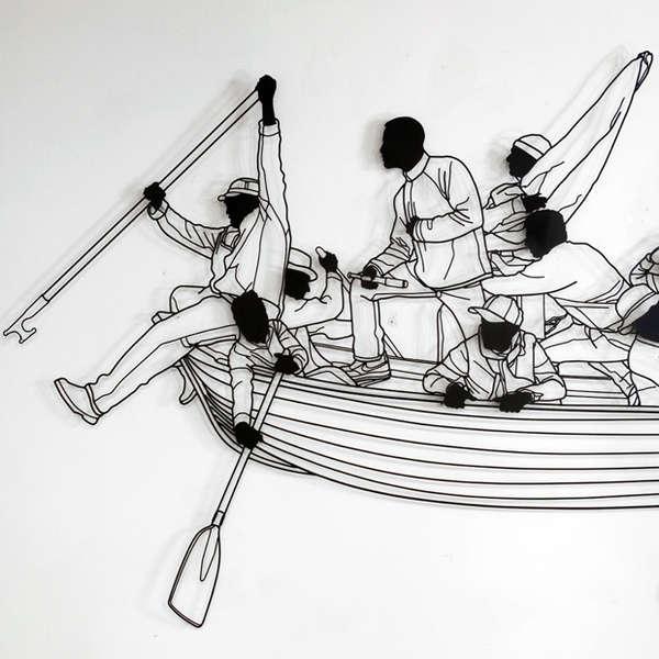 Rowing Silhouette Sculptures Frank Plant