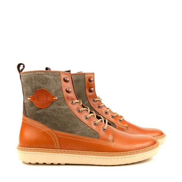 Tan-Panelled Tangerine Boots
