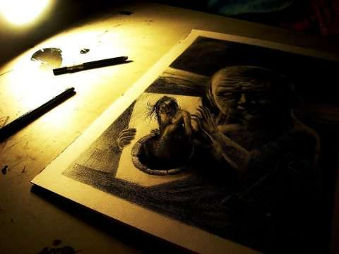 Creepy Realistic Pencil Art
