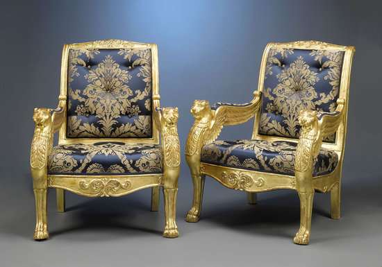 Royal Golden Seating French Giltwood Arm Chairs