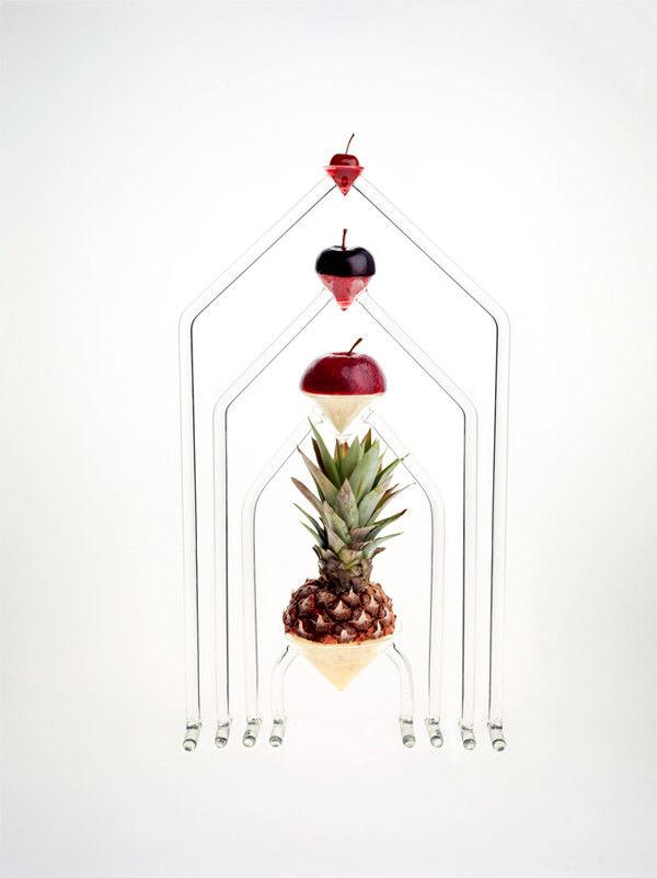 Floating Fruit Glass Sculptures