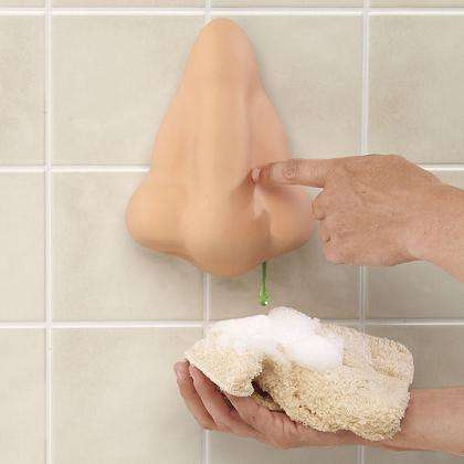 Bathroom humor through decor the giant nose for liquid soap - Nose tissue dispenser ...