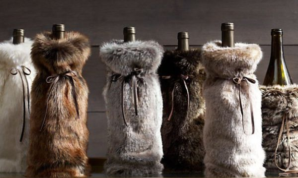 Fuzzy Furry Bottle Bags Fur Bottle Bag