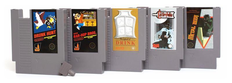 Retro Game Cartridge Flasks