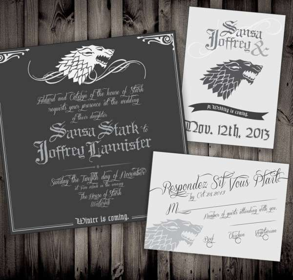 Fantasy Wedding Invitations Game Of Thrones Wedding