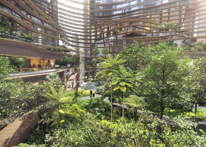 Waterfall tower developments garden atrium for Waterfall green design centre