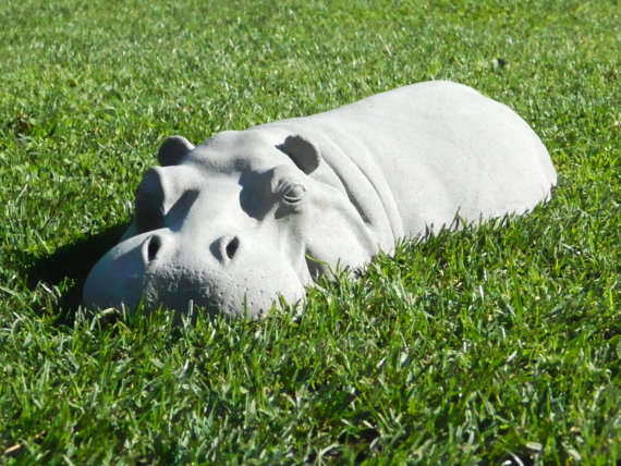 Hiding Hippo Lawn Ornaments