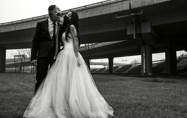 Gas Mask Wedding Photography
