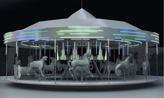 solar powered carousels ge sxsw merry go round. Black Bedroom Furniture Sets. Home Design Ideas