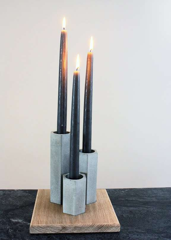 Concrete-Cast Candle Sets