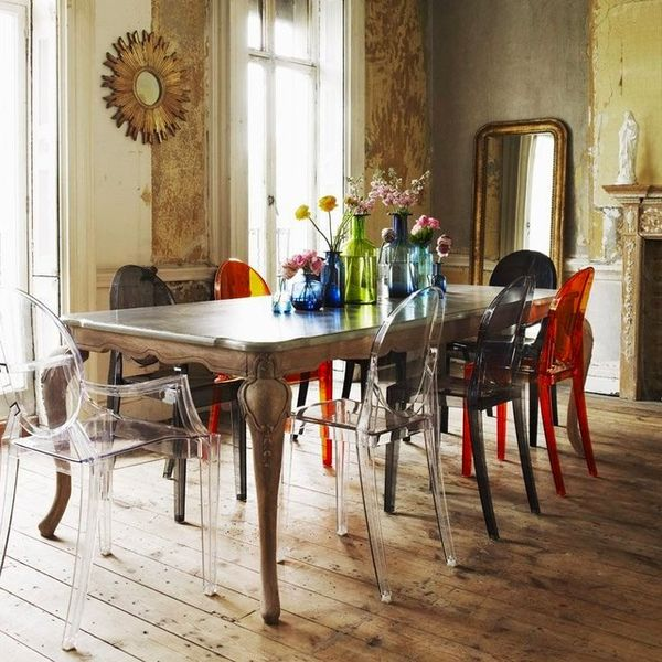 Mix Match Kitchen Chairs: Colorful Transparent Ghost Chairs : Ghost Chairs