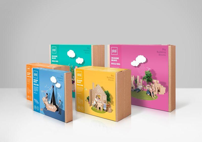 Cardboard Building Block Branding