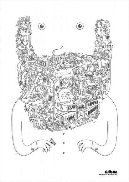Illustrated Facial Hair Ads