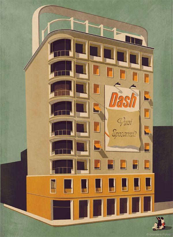 Nostalgic Architecture Illustrations