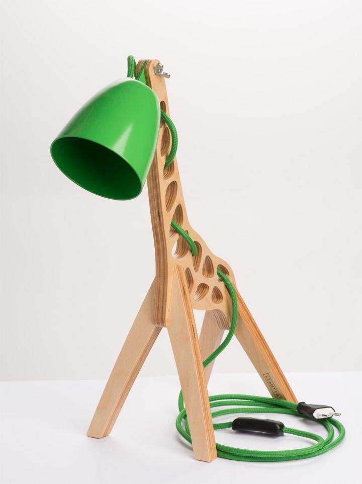 Wooden Giraffe Lamps