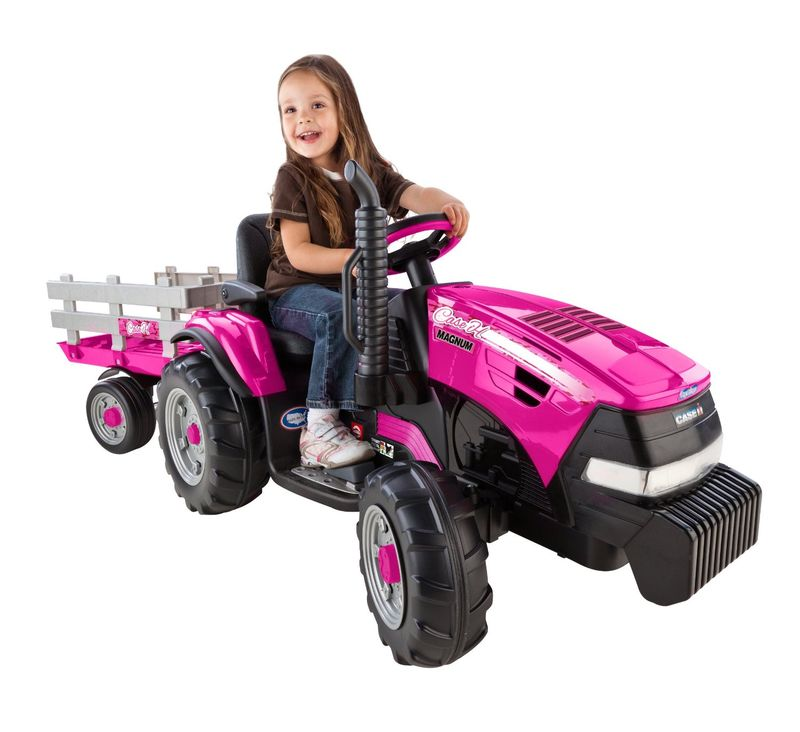 Pink Power Wheels Tractor : Tiny pink trailers girls toy tractor