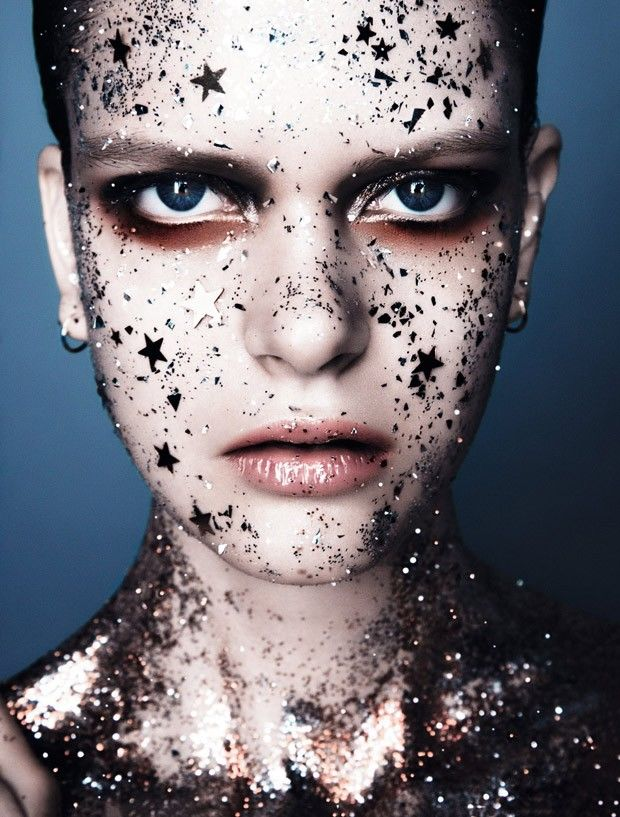 shimmering beauty portraits glitter makeup