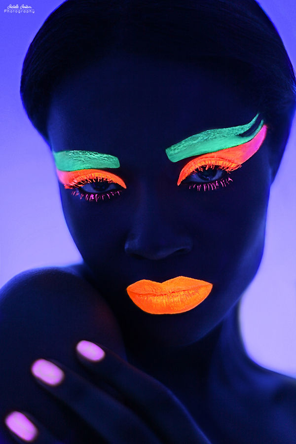 glowing neon face photography glowing colors. Black Bedroom Furniture Sets. Home Design Ideas