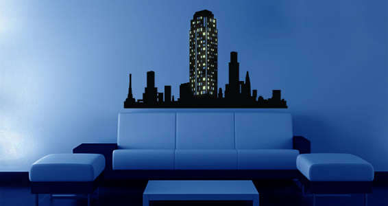 Glowing Cityscape Wall Decals