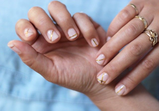 Gold Striped Nails