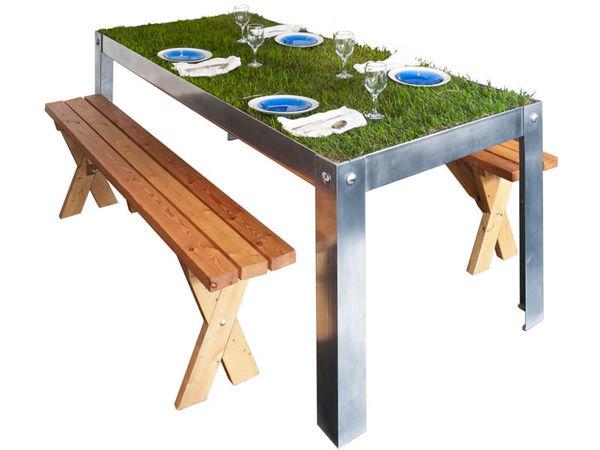 Grassy Picnic Tables