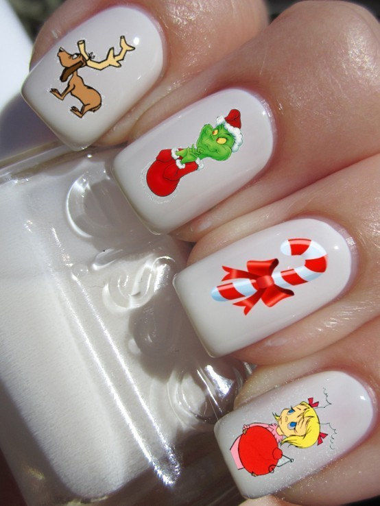 Nostalgic Christmas Story Manicures : Grinch Nail Decals