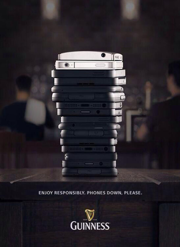 Stacked Phone Beer Ads