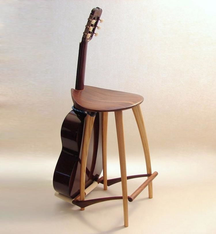 Instrument-Accommodating Stools : guitar stand