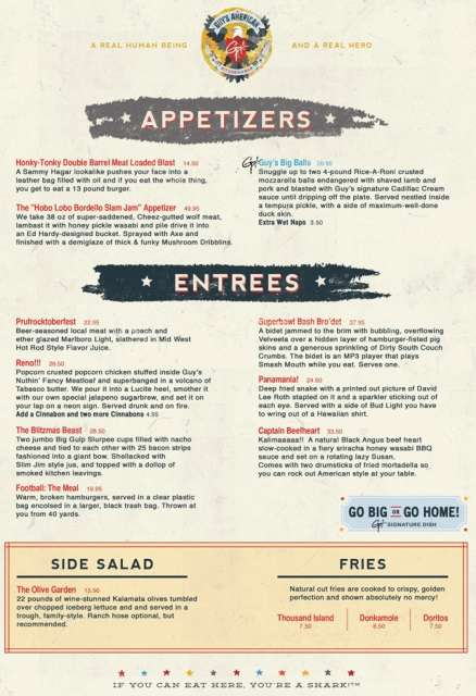 Guy Fieri parody menu