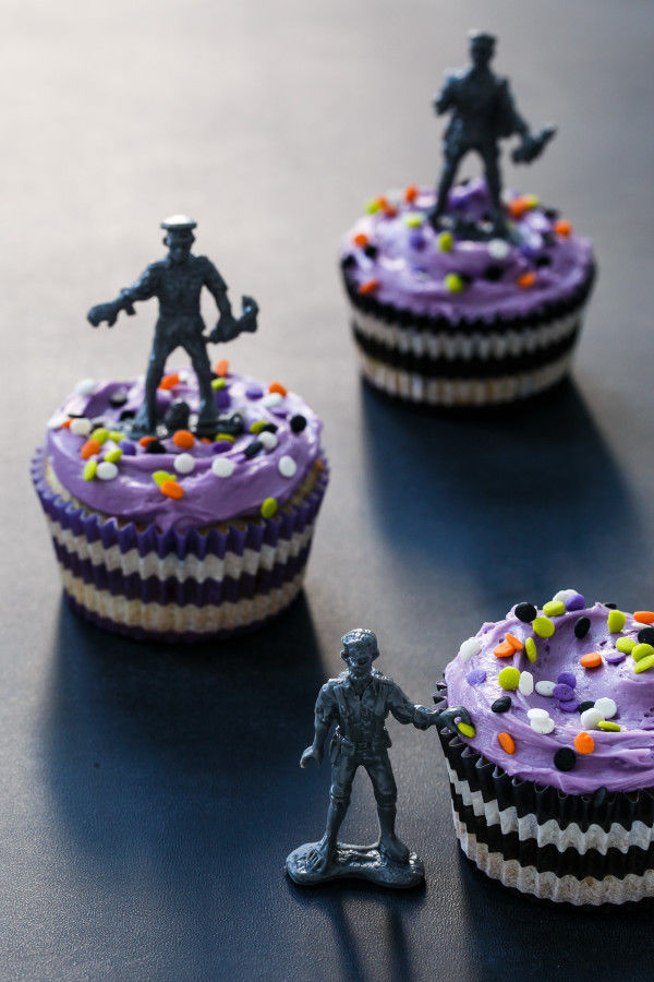 Zombified Confetti Cupcakes