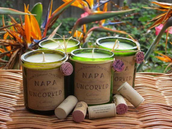 Upcycled Wine-Scented Candles