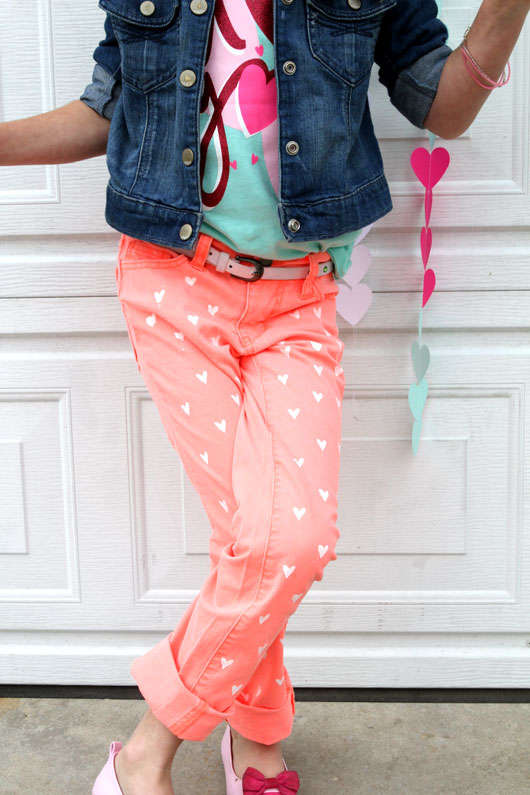 Hand-Painted Heart Pants