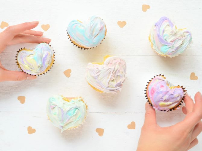 Colorful Heart-Shaped Cupcakes