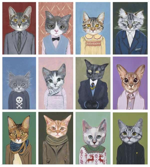 humanized feline illustrations heather matton cats in