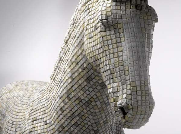 Recycled Keyboard Animal Art