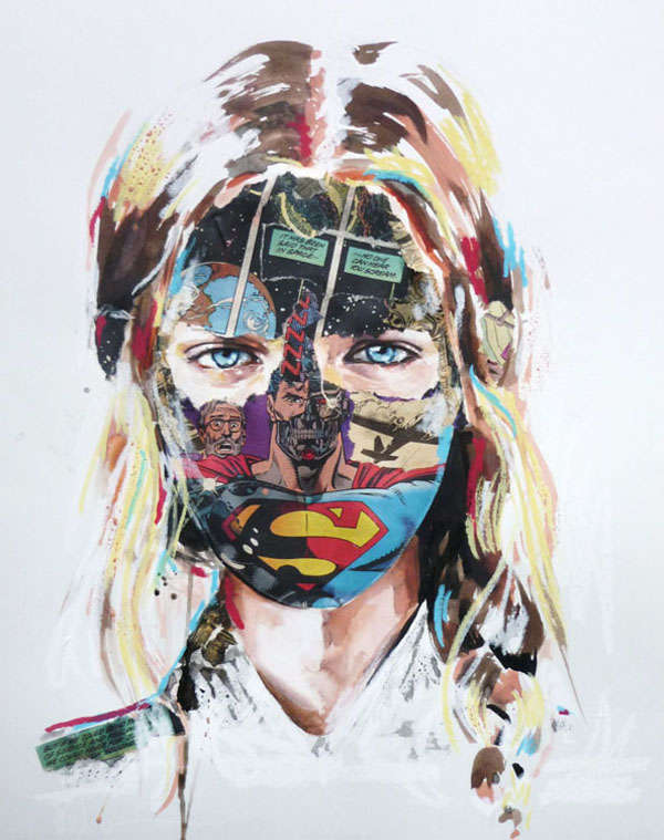 Comic-Covered Face Art