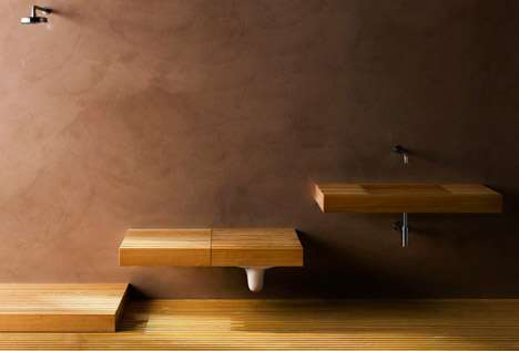 hidden bathroom fixtures these rapsel wooden shelves. Black Bedroom Furniture Sets. Home Design Ideas