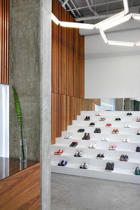Bleacher-Themed Shoe Displays