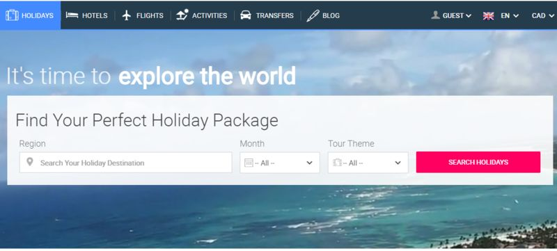 Customizable Holiday Booking Websites