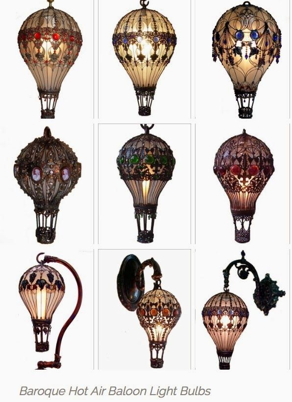 Hand Painted Stained Glass Hot Air Balloon Lamp