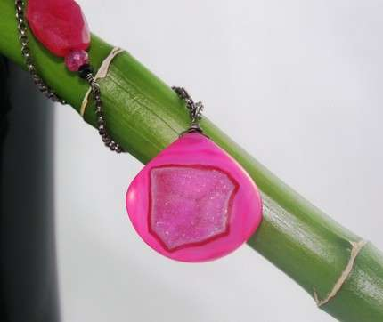 Hot Pink Druzy Pendants