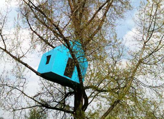 Suspended Blue Cabins