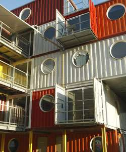 Box car living houses made from shipping containers