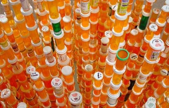 Drug Bottle Chandeliers